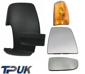 FORD TRANSIT MK8 FRONT RIGHT SIDE MIRROR GLASS ORANGE INDICATOR LENS COVER SET