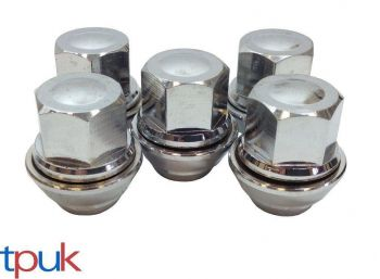 BRAND NEW FORD KA WHEEL NUT NUTS SET OF 5 SOLID CHROME TOP QUALITY ALLOY