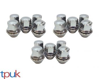BRAND NEW FORD PUMA WHEEL NUT NUTS SET OF 15 SOLID CHROME TOP QUALITY ALLOY