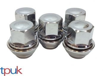 BRAND NEW FORD PUMA WHEEL NUT NUTS SET OF 5 SOLID CHROME TOP QUALITY ALLOY