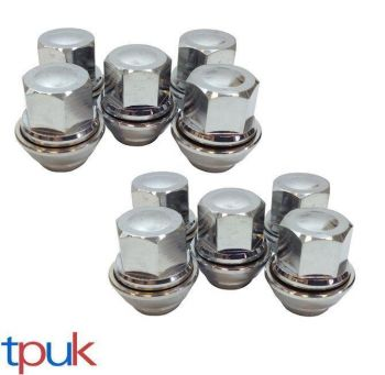 BRAND NEW FORD PUMA WHEEL NUT NUTS SET OF 10 SOLID CHROME TOP QUALITY ALLOY